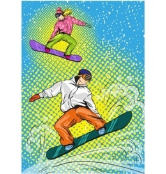 Man and woman snowboarding in mountains vector