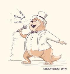 Marmot in gentleman clothes with microphone vector