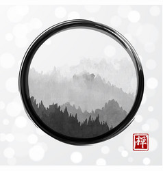 Mountains with forest trees in fog in black enso vector