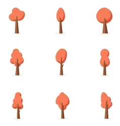 Orange tree set art vector