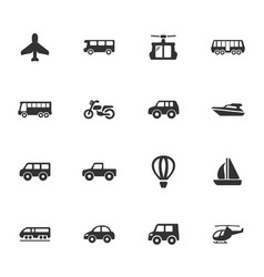 Public transport icons set vector