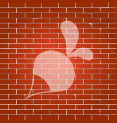 Radish simple sign whitish icon on brick vector
