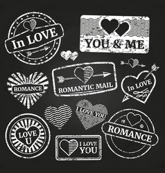 romantic postage grunge stamp collection vector image vector image