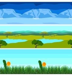 Set nature backgrounds horizontal tile patterns vector image