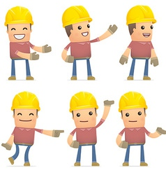 set of builder character in different poses vector image vector image