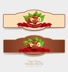 set of horizontal labels with hazelnuts vector image