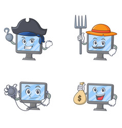 Set of monitor character with pirates farmer vector