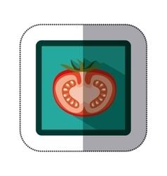 Sticker colorful square with half tomato vector