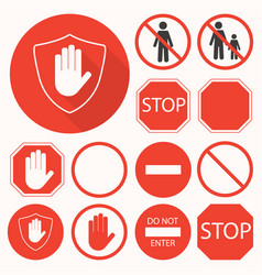 stop signs collection stop hand octagon circle vector image vector image