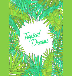 Summer background with tropical leaves monstera vector