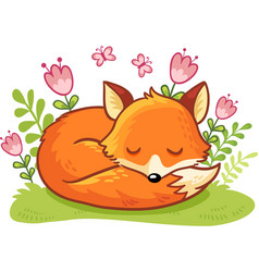 the fox is asleep on a flower clearing vector image vector image
