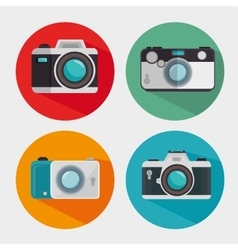 Vintage and modern photo camera design graphic vector
