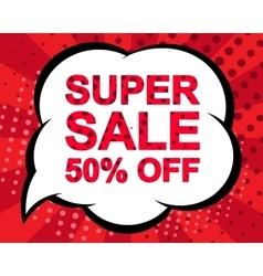 Big winter sale poster with super sale 50 percent vector