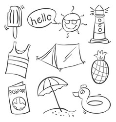 Doodle of summer holiday object vector