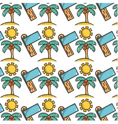 palm with coconut and sun with surfboard vector image