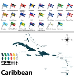 Political map of caribbean with flags vector