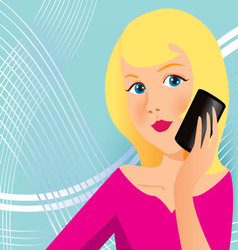 Woman with cell phone vector