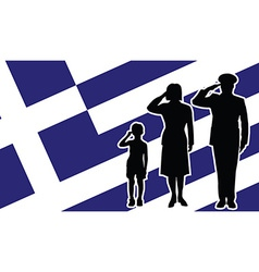Greece soldier family salute vector