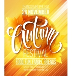 Autumn festival poster template vector