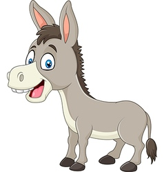 Cartoon happy donkey isolated on white background vector image