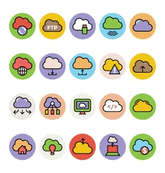 Cloud computing colored icons 4 vector
