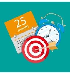 Alarm clock calendar target time management vector
