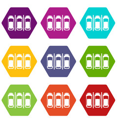 car parking icon set color hexahedron vector image