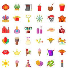 Carnival icons set cartoon style vector