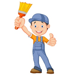 Cartoon painter giving thumb up vector image vector image