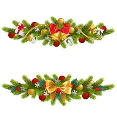 christmas fir decoration with bow vector image vector image