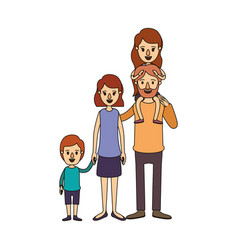 color image caricature big family parents with vector image vector image