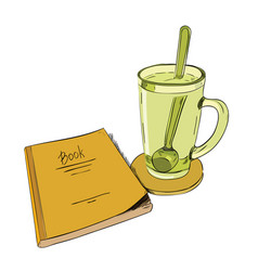 color sketch books and cups with a spoon vector image vector image