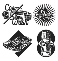 color vintage car wash emblems vector image
