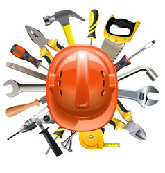 construction helmet with tools vector image vector image