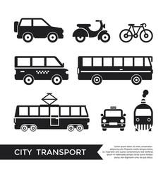 Digital black city transport vector