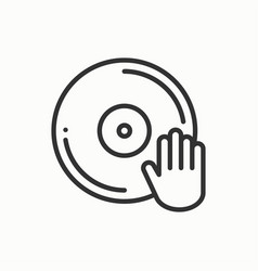 Dj disk jockey turntable icon vinyl record disco vector
