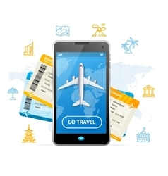 Go travel mobile ticket booking concept vector