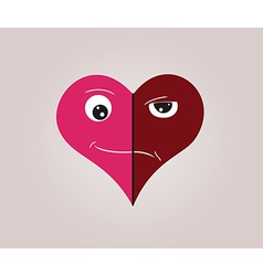heart with two faces vector image vector image