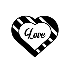 Hearts love black and white decoration outline vector