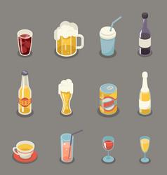 isometric retro flat alcohol beer juice tea wine vector image vector image
