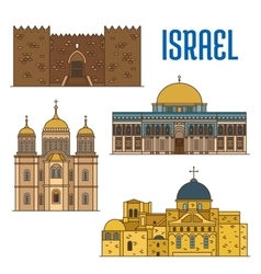 Israel architecture and famous buildings vector