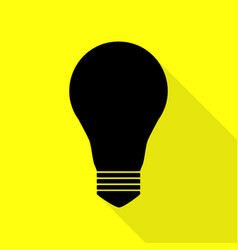 Light lamp sign black icon with flat style shadow vector