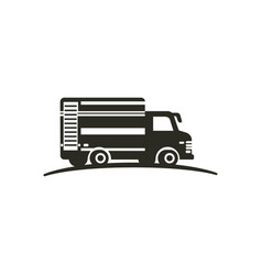 logo with truck isolated on white background vector image vector image