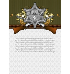 ornate frame with sheriff star vector image
