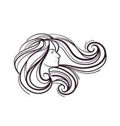 profile of face beautiful girl isolated on white vector image vector image