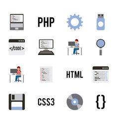 program coding set icons web design languages vector image