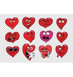 Red heart valentine set of characters vector