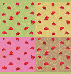 Red rose petals pattern fabric vector