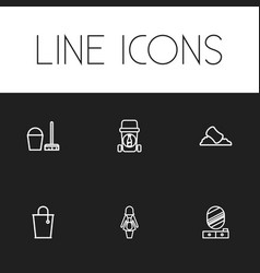 set of 6 editable cleaning outline icons includes vector image vector image