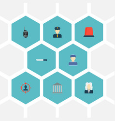 set of crime icons flat style symbols with flasher vector image vector image